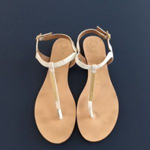 Calvin Klein Samira White Sandals, Thong Flats